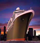 luxury cruise ship shot from extreme angle at water level during a radical sunset with choppy seas.