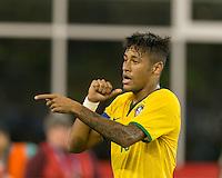 Foxborough, Massachusetts - September 8, 2015: In an international friendly match, Brazil (yellow/white) defeated USMNT (blue) , 4-1, at Gillette Stadium.<br /> Neymar celebrates his goal.