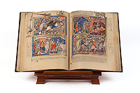"First edition of the ""Crusader Bible"", 13th century manuscript kept in the Pierpont Morgan Library in New York, on natural parchment made of animal skin published by Scriptorium SL in Valencia, Spain. © Scriptorium / Manuel Cohen"