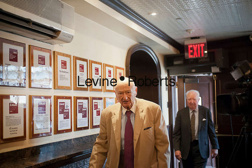 Former NY Mayor Ed Koch arrives for lunch at Peter Luger Steak House in Williamsburg, Brooklyn in New York on Tuesday, July 17, 2012. The classic American steakhouse, which is a family run business which originally opened in 1887, has recently been voted the best steakhouse in the United States by a panel of chefs and food critics put together by the USA Today newspaper. (© Richard B. Levine)
