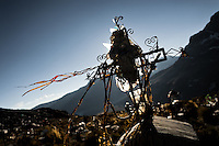A cross on the grave seen at the cemetery in La Rinconada, Peru, 3 August 2012. During the last decade, the rising price of the gold has attracted thousands of people to La Rinconada in the Peruvian Andes. At 5300 metres above sea level, nearly 50.000 people work in the gold mines and live in the nearby colonies without running water, sewage system or heating service. Although the work in the mines is very dangerous (falling rocks, poisonous gases and a shifting glacier), the majority of miners have no contract and operate under the cachorreo system - working 30 days without payment and taking the gold they supposedly find the 31st day as the only salary. In spite of a demaged environment, caused by mercury contamination from the mining and the lack of garbage disposal, people continue to flock to the region hoping to find their fortune.