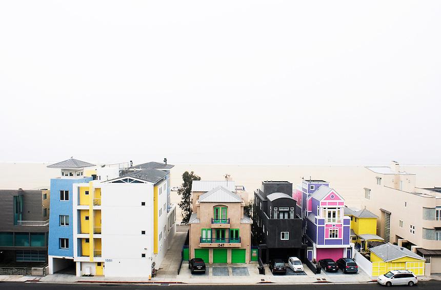 Houses on Ocean Front Walk off of Ocean Avenue in Santa Monica, Los Angeles California US