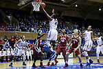 17 December 2014: Duke's Sierra Calhoun (4) makes a layup. The Duke University Blue Devils hosted the University of Oklahoma Sooners at Cameron Indoor Stadium in Durham, North Carolina in a 2014-15 NCAA Division I Women's Basketball game. Duke won the game 92-72.
