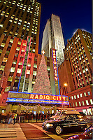 New York, New York , Rockefeller Center, Christmas, Sixth Avenue, Radio City Music Hall, exterior.architect Edward Durell Stone