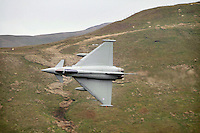 Typhoon fighter jet at Bwlch, Wales.  The low flying area provides good hunting grounds for plane spotters.
