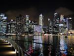 Singapore night skyline from Marina Bay Sands promanade