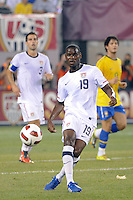 Maurice Edu (19) of the United States. The men's national team of Brazil (BRA) defeated the United States (USA) 2-0 during an international friendly at the New Meadowlands Stadium in East Rutherford, NJ, on August 10, 2010.