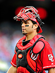 6 June 2010: Washington Nationals' catcher Wil Nieves in action against the Cincinnati Reds at Nationals Park in Washington, DC. The Reds edged out the Nationals 5-4 in a ten inning game. Mandatory Credit: Ed Wolfstein Photo