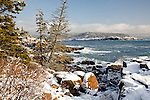 Fresh snow at Newport Cove in Acadia National Park, Downeast, ME