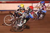 Heat 7: Adam Shields (red), Joe Screen (yellow) and Paul Hurry (blue) - Lakeside Hammers vs Wolverhampton Wolves, Elite Shield Speedway at the Arena Essex Raceway, Purfleet - 26/03/10 - MANDATORY CREDIT: Rob Newell/TGSPHOTO - Self billing applies where appropriate - 0845 094 6026 - contact@tgsphoto.co.uk - NO UNPAID USE.