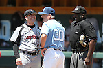 07 May 2016: Louisville head coach Dan McDonnell (3) shares a pregame laugh with UNC head coach Mike Fox (30) and home plate umpire Troy Fullwood (right). The University of North Carolina Tar Heels played the University of Louisville Cardinals in an NCAA Division I Men's baseball game at Boshamer Stadium in Chapel Hill, North Carolina.