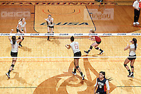 SAN ANTONIO, TX - NOVEMBER 22, 2015: The Conference USA Volleyball Championship Tournament Finals: The Western Kentucky University Hilltoppers defeat the University of Texas at San Antonio Roadrunners 3-1(25-17, 25-19, 20-25, 25-21) at the UTSA Convocation Center. (Photo by Jeff Huehn)