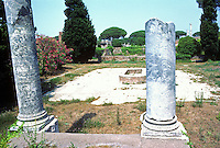 "Italy: Ostia--The Market. Pillar on right bears inscription, ""Read this and know that gossip is rife in the market."" Photo '83."
