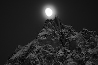 Aguille du Midi with moon.