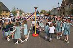 May Pole Maypole Dancing. Stilton village Cambridgeshire UK 2008.