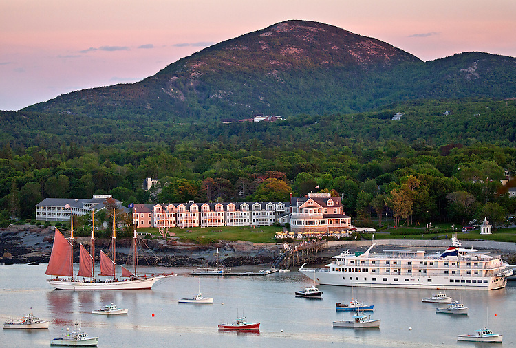 View of Bar Harbor, Champlain Mountain; and the Bar Harbor Inn from the Bar Island summit in Acadia National Park, Maine, USA