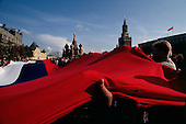Moscow, Soviet Union<br /> August 23, 1991<br /> <br /> A Russian flag is draped across Red Square following Soviet coup d'&eacute;tat attempt (August 19-21, 1991), also known as the August Putsch or August Coup. A small group of the Soviet government officials briefly deposed president Mikhail Gorbachev in an attempted to take control of the country. The coup leaders were hard-line members of the Communist Party (CPSU) who felt that Gorbachev's reforms had gone too far in dispersing the central government's power to the republics - better known as perestroika. The coup collapsed in three days, and Gorbachev returned to power, crushing the Soviet leader's hopes that the union could be held together in a decentralized form.