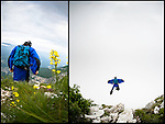 Exiting for a 3000' wingsuit flight from Monte Brento.  Arco, Italy.