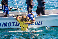 Namotu Island Resort, Nadi, Fiji (Wednesday, June 15 2016):  Taj Burrow (AUS)  - The Fiji Pro, stop No. 5 of 11 on the 2016 WSL Championship Tour, was recommenced today at Cloudbreak with a new SSW swell in the 6' plus range. The contest had endured a long spell of layaways due to small conditions but it roared back to life with the new swell which is expected to continue for the rest of the waiting period.<br /> The hat of the day was between Taj Burrow (AUS) who has retired for the pro tour and John John Florence (HAW) who is being tipped as a World Champion this year.<br /> Both surfers were counting two 9 pt plus rides in their scores but it was Florence who scraped through finishing Burrows 18 year career on a high.<br /> Photo: joliphotos.com