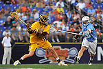 29 MAY 2011:  Ryan Clarke (4) of Salisbury University unleashes a shot against Tufts University during the Division III Men's Lacrosse Championship held at M+T Bank Stadium in Baltimore, MD.  Salisbury defeated Tufts 19-7 for the national title. Larry French/NCAA Photos