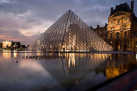 Rising from the center of the Cour Napoléon, glass Pyramid built by I. M. Pei, inaugurated on March 30, 1989, Louvre Museum, Paris, France. Picture by Manuel Cohen