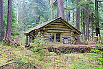 Historic Ipsut Creek Ranger Log Cabin on 4/29/06, before November, 2006 floods, Mount Rainier National Park,<br />