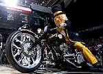 28 February 2016: The Demon Deacon rides his motorcycle onto the court before player introductions. The Wake Forest University Demon Deacons hosted the Virginia Tech Hokies at Lawrence Joel Veterans Memorial Coliseum in Winston-Salem, North Carolina in a 2015-16 NCAA Division I Men's Basketball game. Virginia Tech won the game 81-74.