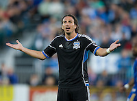 Alan Gordon of Earthquakes reacts after referee misses a call during the game agains the Rapids at Buck Shaw Stadium in Santa Clara, California on May 18th, 2013.  San Jose Earthquakes tied Colorado Rapids, 1-1.