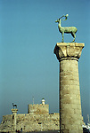 Rhodian Deer Statues Guarding Mandraki Harbour, Rhodes, Greece