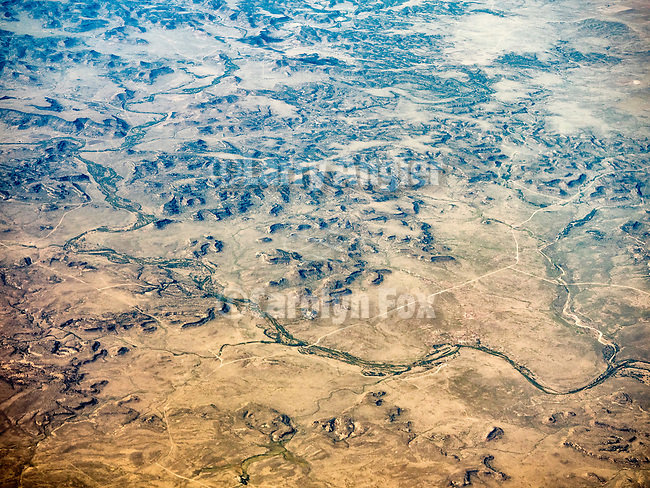 Dry Cimmaron western Oklahoma Panhandle  from a window seat above.