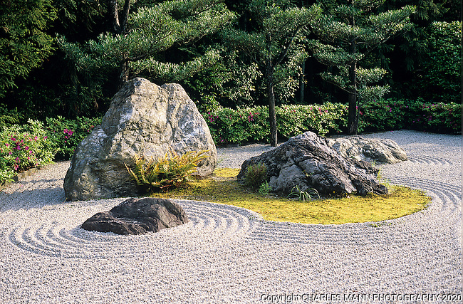 Stones set in a field of raked gravel and some moss  exude a feeling of the eternal and the ephemral at the same time.