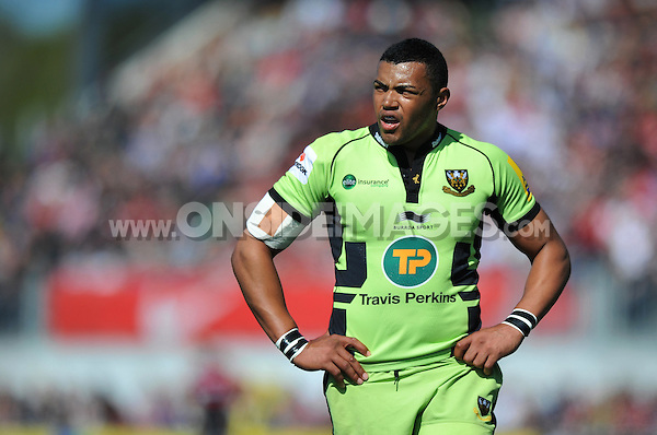 Luther Burrell looks on during a break in play. Aviva Premiership match, between Saracens and Northampton Saints on April 13, 2014 at Allianz Park in London, England. Photo by: Patrick Khachfe / JMP