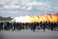 Pyrotechnics explode in a simulated air attack during Tiger Air show.  Nato Tiger Meet is an annual gathering of squadrons using the tiger as their mascot. While originally mostly a social event it is now a full military exercise. Tiger Meet 2012 was held at the Norwegian air base &Oslash;rlandet.