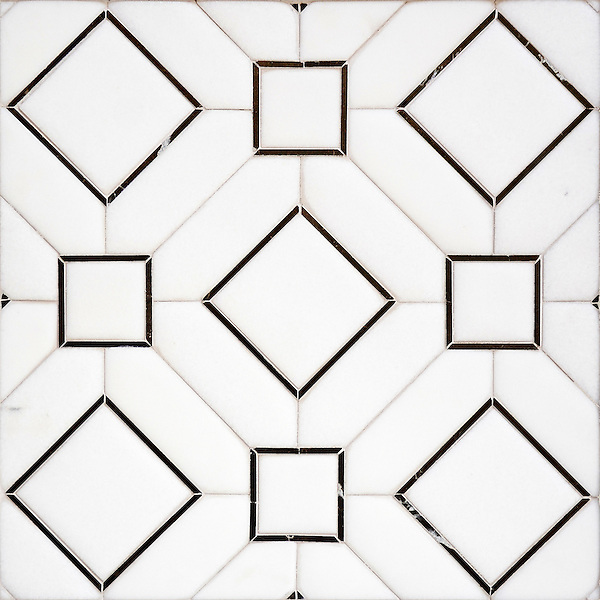 Almerita, a handmade mosaic shown in Venetian honed Thassos and polished Saint Laurent. Designed by Paul Schatz for New Ravenna.<br />