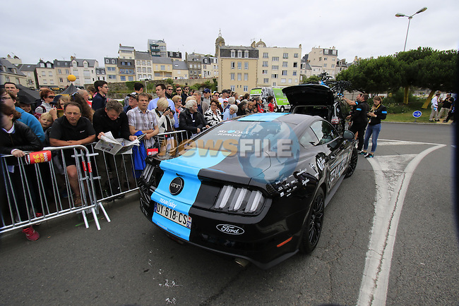 Team Sky Ford Mustang team car before the start of Stage 3 of the 2016 Tour de France, running 223.5km from Granville to Angers, France . 4th July 2016.<br /> Picture: Eoin Clarke | Newsfile<br /> <br /> <br /> All photos usage must carry mandatory copyright credit (&copy; Newsfile | Eoin Clarke)