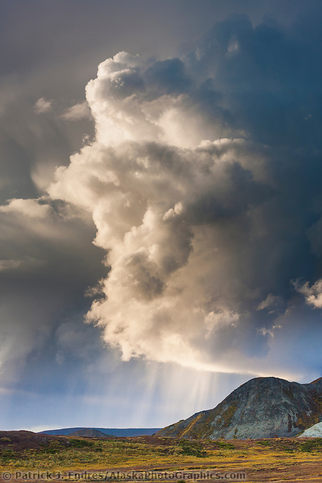 Dramatic storm clouds form over the autumn tundra in Denali National Park, Alaska.