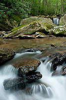 Flowing waters in the highlands of North Carolina near Beech Mountain.