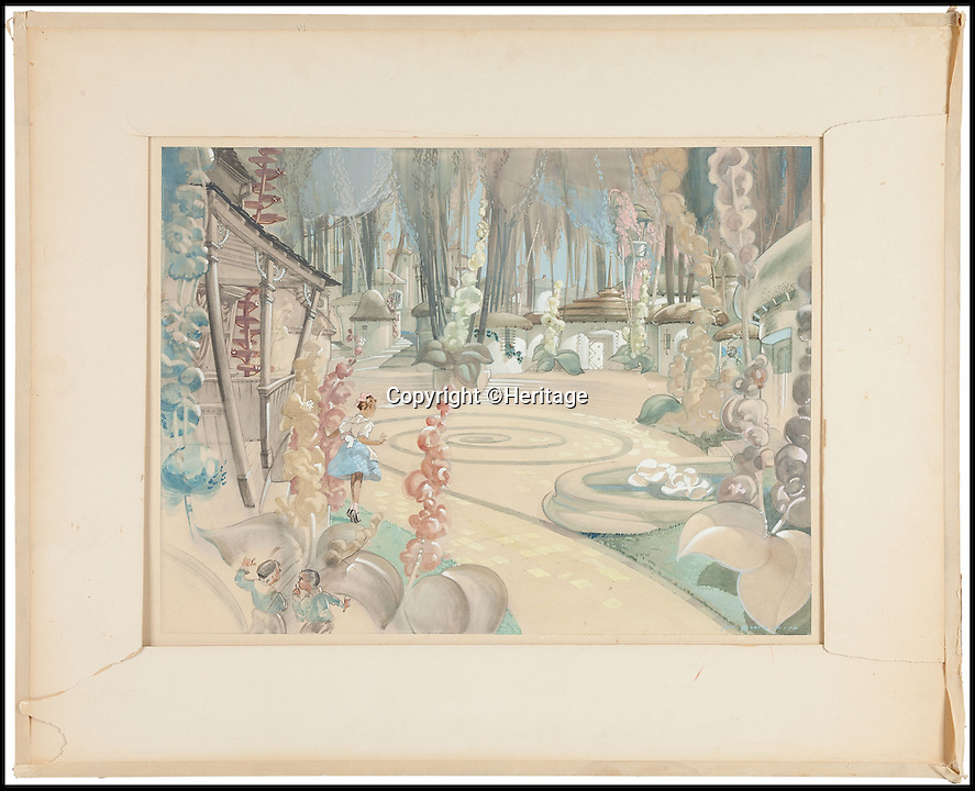 BNPS.co.uk (01202 558833)<br /> Pic: Heritage/BNPS<br /> <br /> ***Please Use Full Byline***<br /> <br /> Two incredibly-rare paintings used to plan the filming of The Wizard of Oz have been discovered.<br /> <br /> The watercolours came from the brush of famed art director Jack Martin Smith and showed how the sets might look once filming of the Hollywood classic began.<br /> <br /> One of the paintings features Dorothy - played by child star Judy Garland - and two Munchkins walking down the Yellow Brick Road to Oz while the other shows Dorothy with the Scarecrow. <br /> <br /> Each painting is tipped to fetch 4,000 pounds when they go under the hammer at Heritage Auctions in Beverly Hills, California.