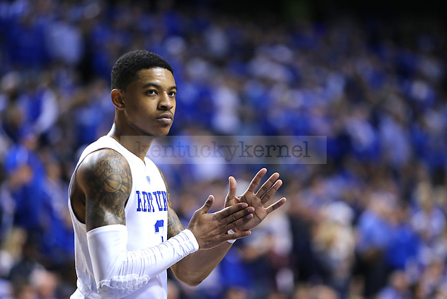 Guard Tyler UIis of the Kentucky Wildcats looks on during the game against the LSU Tigers at Rupp Arena in Lexington, Ky. on Saturday, March 5, 2016. UK defeated LSU 94-77 to finish the season 23-8. Photo by Michael Reaves | Staff.