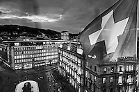 Symbolic heart of the Swiss banking world - the largest offshore financial centre in the world, holding almost US$7,000 billion assets, several times the Swiss economy. The HQ of Switzerland's two largest banks UBS and Credit Suisse are at centre and right. Below the square are thought to lie the banks' vaults.