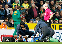 Blackburn Rovers' Marvin Emnes needs treatment after a challenge from Norwich City's Mitchell Dijks (which earned him a red card)<br /> <br /> Photographer David Shipman/CameraSport<br /> <br /> The EFL Sky Bet Championship - Norwich City v Blackburn Rovers - Saturday 11th March 2017 - Carrow Road - Norwich<br /> <br /> World Copyright &copy; 2017 CameraSport. All rights reserved. 43 Linden Ave. Countesthorpe. Leicester. England. LE8 5PG - Tel: +44 (0) 116 277 4147 - admin@camerasport.com - www.camerasport.com