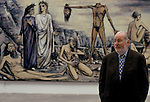 Bernard Buffet French artist expressionist painter (1928-1999) France Circa 1995. With the painting 'L'homme a la Tete Coupee'. Kassal Germany