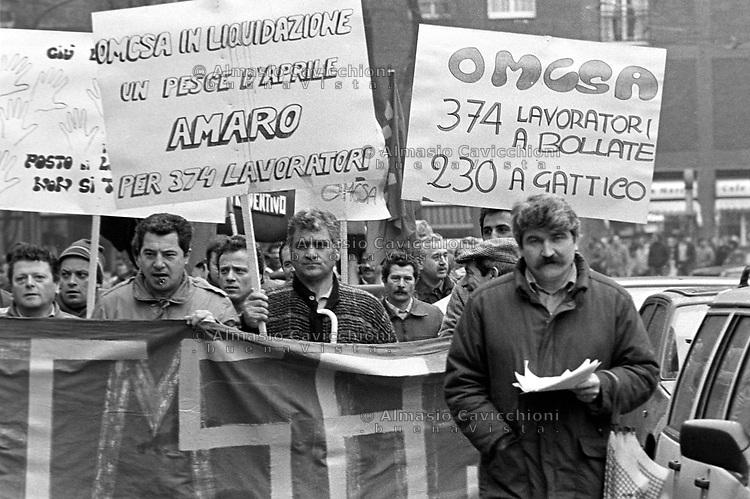 9 Apr 1987, Milano, sciopero per il rinnovo del contratto<br /> Apr 9 1987, Milan, strike for the renewal of the contract