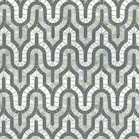 Kasbah, a natural stone hand cut mosaic shown in Thassos, Calacatta Tia and polished Bardiglio, is part of the Silk Road Collection by Sara Baldwin for New Ravenna Mosaics. <br />
