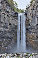 Taughannock Falls is the highest waterfall in western New York with a 215 foot sheer drop. This waterfall is located near Ithaca, New York.