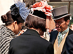 People wearing their Sunday best clothes and vintage hats at the New York City Easter Parade
