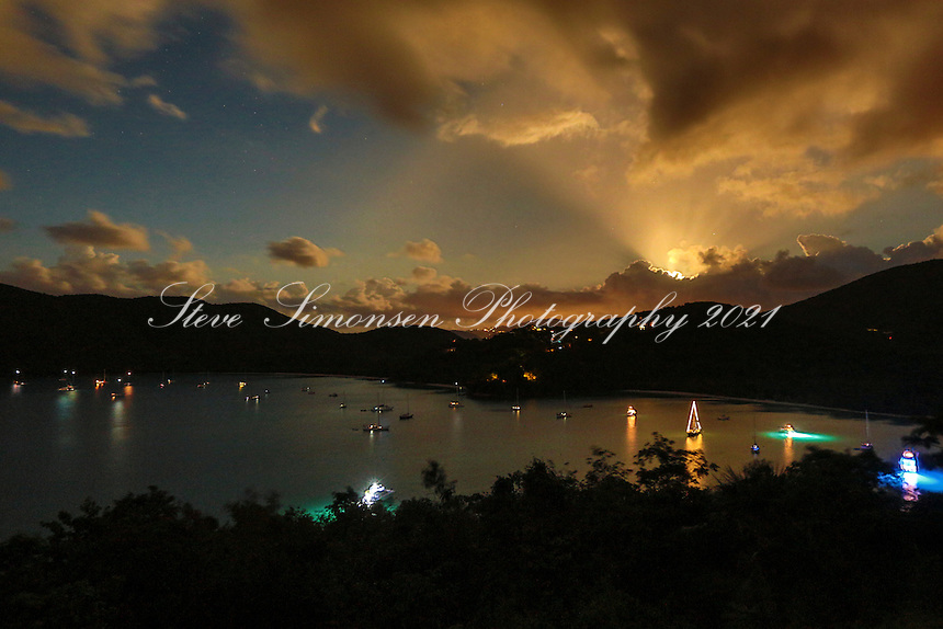 Moonrise over Maho Bay<br /> Virgin Islands National Park<br /> St. John<br /> U.S. Virgin Islands