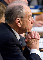 United States Senator Chuck Grassley (Republican of Iowa), Chairman, US Senate Judiciary Committee, listens as Judge Neil Gorsuch testifies before the committee on his nomination as Associate Justice of the US Supreme Court to replace the late Justice Antonin Scalia on Capitol Hill in Washington, DC on Tuesday, March 21, 2017.<br /> Credit: Ron Sachs / CNP /MediaPunch