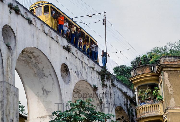 'Bonde' tram on the Arcos da Lapa, Lapa Arch, in Rio de Janeiro, Brazil