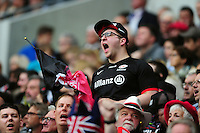 A Saracens supporter in the crowd. European Rugby Champions Cup Final, between Saracens and Racing 92 on May 14, 2016 at the Grand Stade de Lyon in Lyon, France. Photo by: Patrick Khachfe / Onside Images